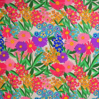 60s silk floral print silk crepe fabric