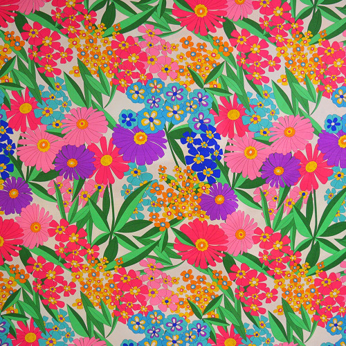 60s silk floral print silk crepe fabric