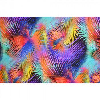 Tissu crêpe de chine motif feuilles multicolore