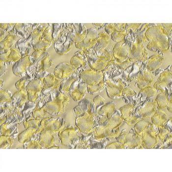 Tissu brocart de soie jaune
