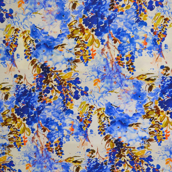 Blue abstract floral printed crepe de chine fabric
