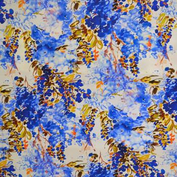 Tissu crêpe de chine imprimé floral abstrait bleu