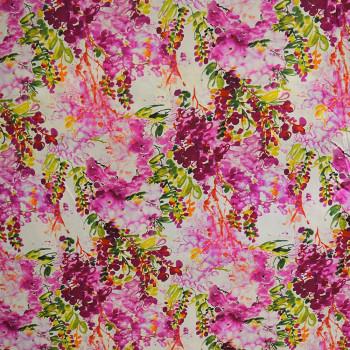 Tissu crêpe de chine imprimé floral abstrait fuschia