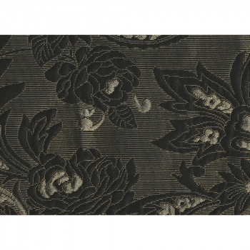 Jacquard fabric black and gold with flowers pattern (2.65 meters)