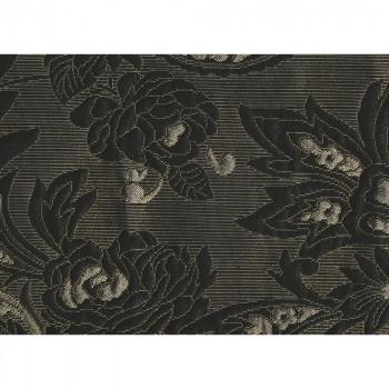 Tissu jacquard noir et or à motif fleurs