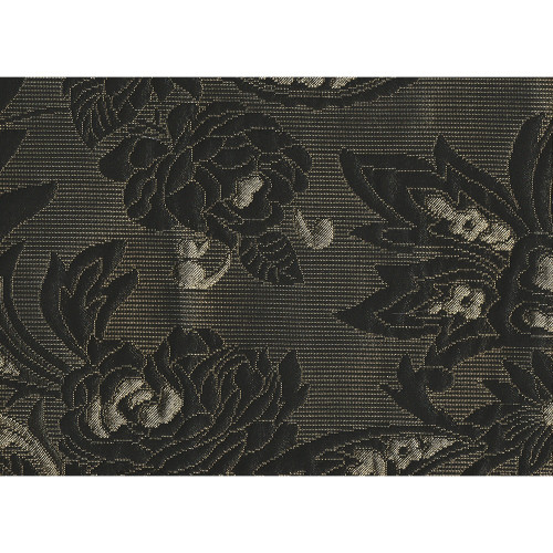 Jacquard fabric black and gold with flowers pattern