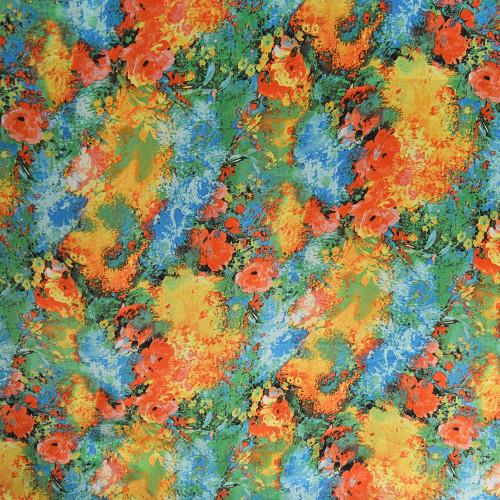 Tissu satin polyester imprimé fleurs abstraites