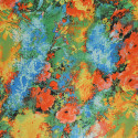 Abstract flower printed polyester satin fabric