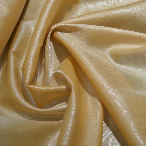 Tissu 100% polyester organza gaufré beige camel