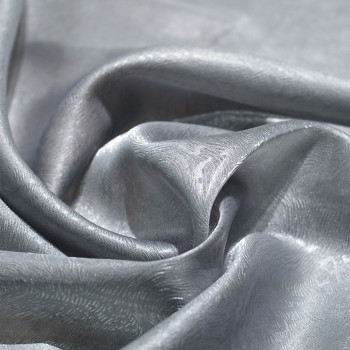 100% polyester organza embossed fabric grey