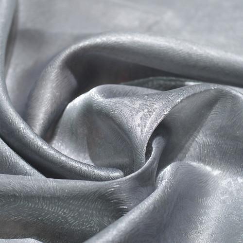 Tissu 100% polyester organza gaufré gris