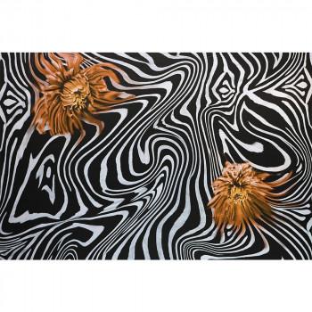 Chiffon fabric 100% silk orange zebra flower print