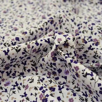 Tissu popeline 100% coton fleurs violettes