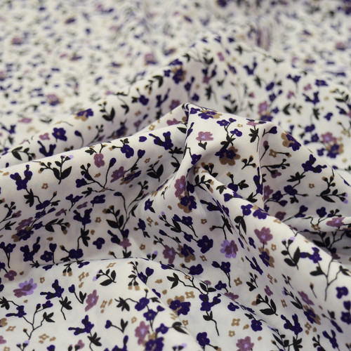 Poplin fabric 100% cotton purple flowers