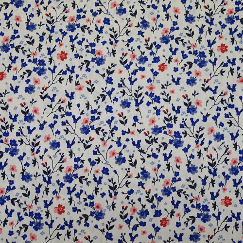 Tissu popeline 100% coton fleurs bleues