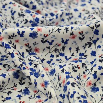 Tissu popeline 100% coton fleurs roses et bleues