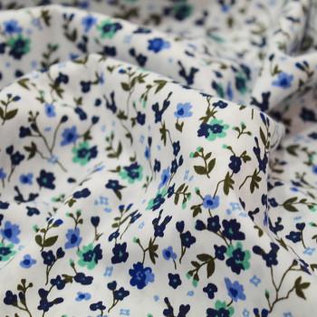 Tissu popeline 100% coton fleurs vertes et blues