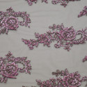 Embroidered tulle fabric pink