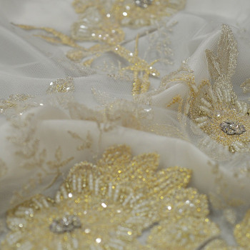 Gold beaded and embroidered tulle fabric