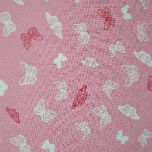 Tissu popeline 100% coton papillons rose